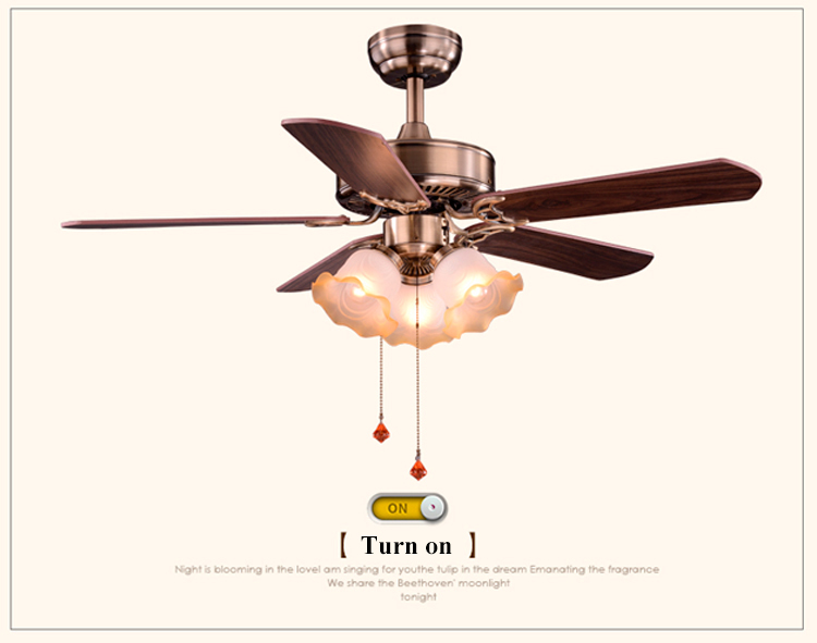 National Style Indoor Decorative Wooden Electric Fan High RPM Ceiling Fan With Light