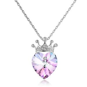 Jewelry for women necklaces valentines day love heart crown necklace crystal from Swarovski