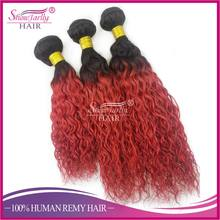 China hair vendor ombre silk satin fabric ombre colored braiding hair 100% human Brazilian curly hair weave