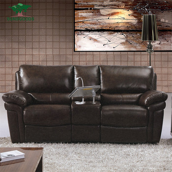 Black Leather Theater Sectional Lounge