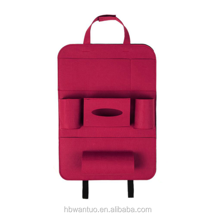 Felt Car Seat Storage Bag Auto Front or Back Seat Organizer Holder Multi-Pocket Travel Storage Bag in Rose Color