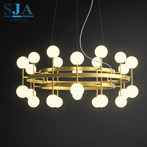 Fashion G4 fog milk glass balls decorative circular led pendant modern beroom lighting for home