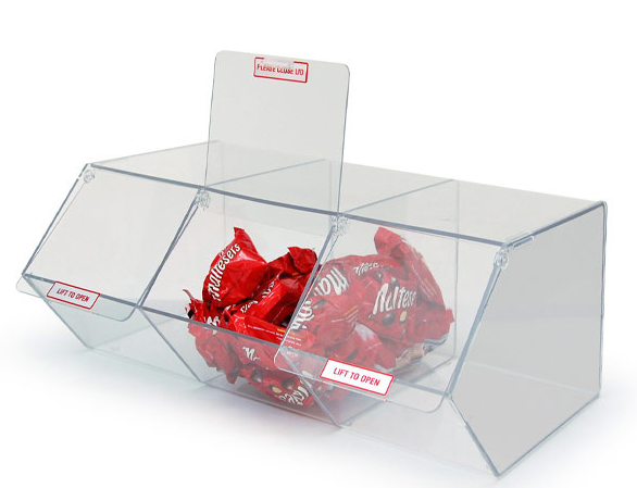 Three Grid Acrylic Candy Storage Box With Logo