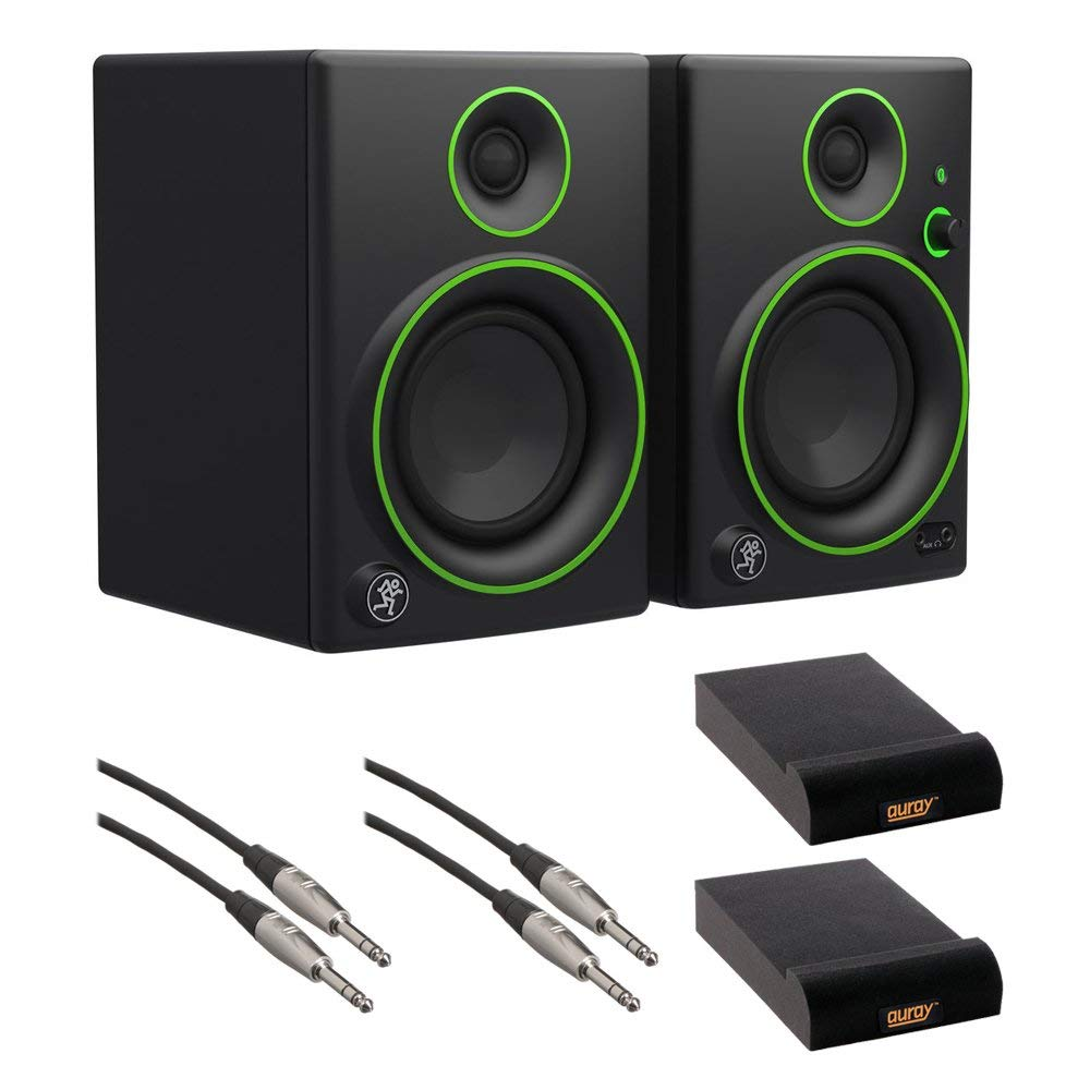 """Mackie CR5BT 5"""" Multimedia Monitors with Bluetooth (Pair), IP-S Isolation Pad (Pair) & 1/4"""" TRS Male to 1/4"""" TRS Male Audio Cable (2-Pieces) Kit"""