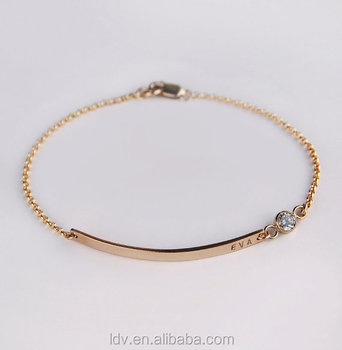 Nameplate Bracelet With Diamond 14k Gold Filled Personalized Name Bar