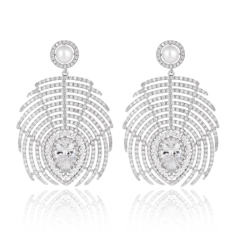 Big Chunky Statement Beautiful Earrings Jewellery Gift Ladies White Gold Cubic Zirconia Feather Drop Earrings