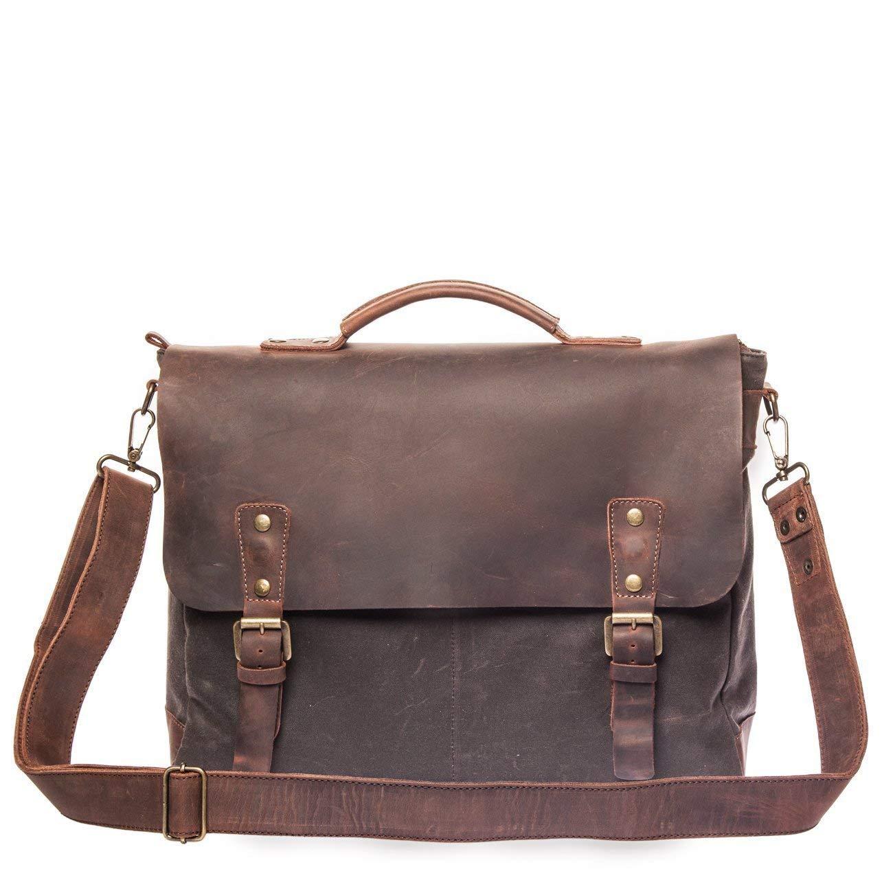 Vintage Handmade Satchel Bag - British Made Waxed Canvas & Alcanena Leather - Laptop Briefcase for Man