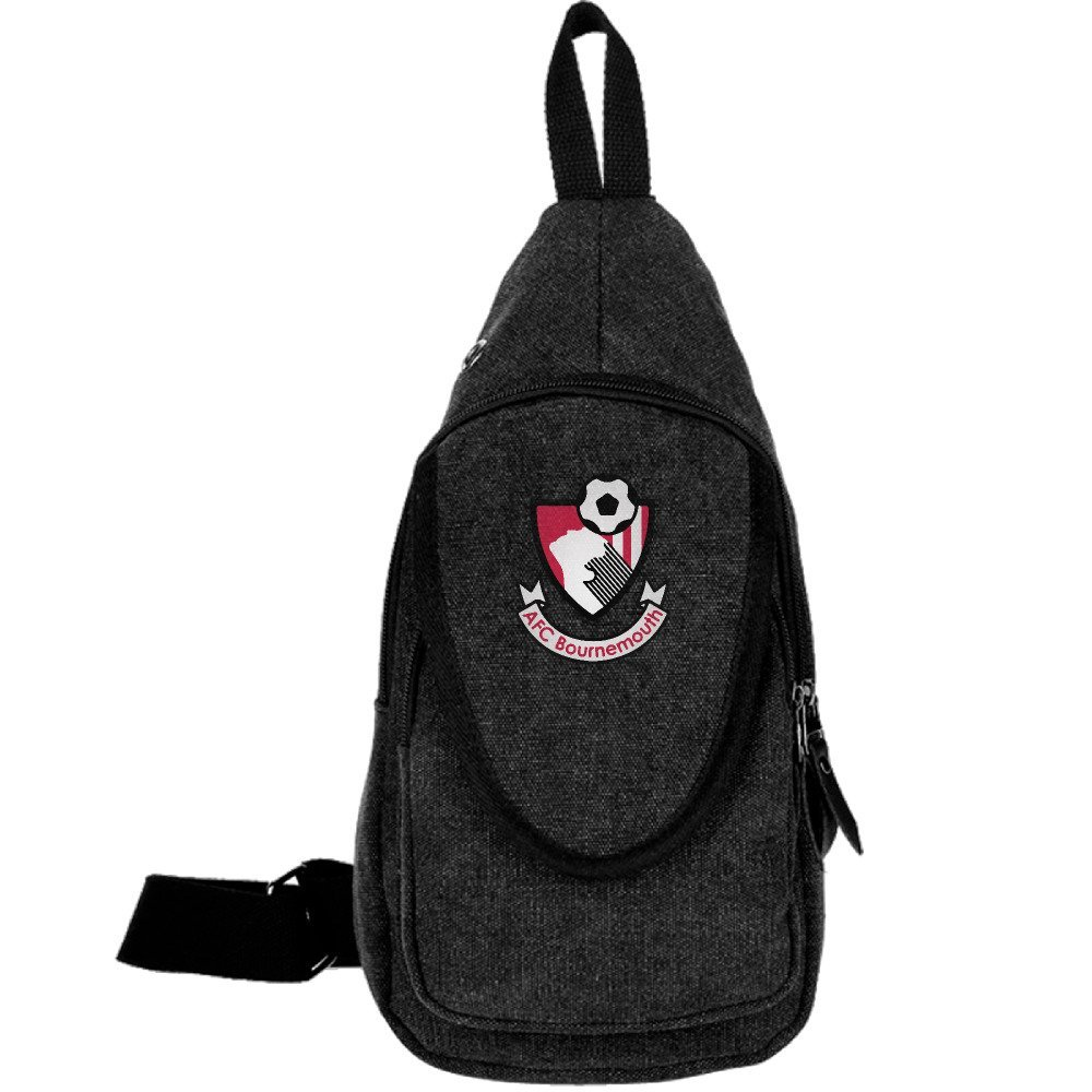 Premier League Bournemouth Mens Canvas Cross Body Bag/Shoulder Bag/Messenger Bag Black