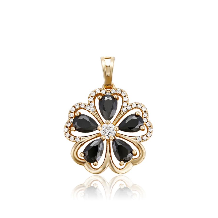 31115 hot sale Xuping jewelry rose gold color copper alloy black stone attractive design girls charm pendant