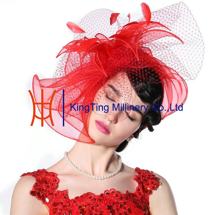 New Arrival Ladies Red Fancy Hair Accessories Facinators Hats With Elegant Feather / Net For Wedding