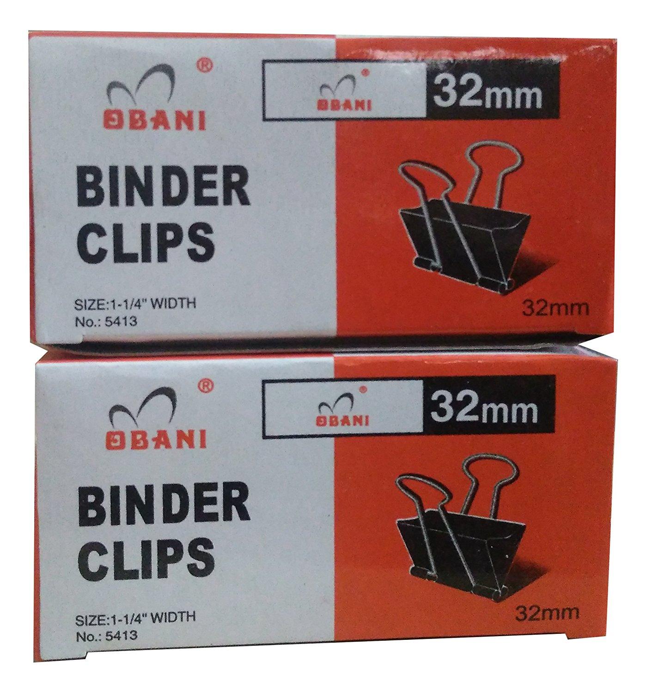 "Obani Black Binder Clips 32mm 12 Pcs x 2 Box (Total 24Pcs) (Size : 1-1/4"" Width)"