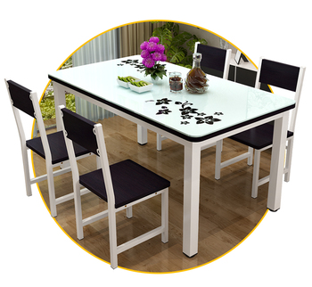 7 Piece Dining Table And Chair Set For 6 With Faux Marble Look Glass
