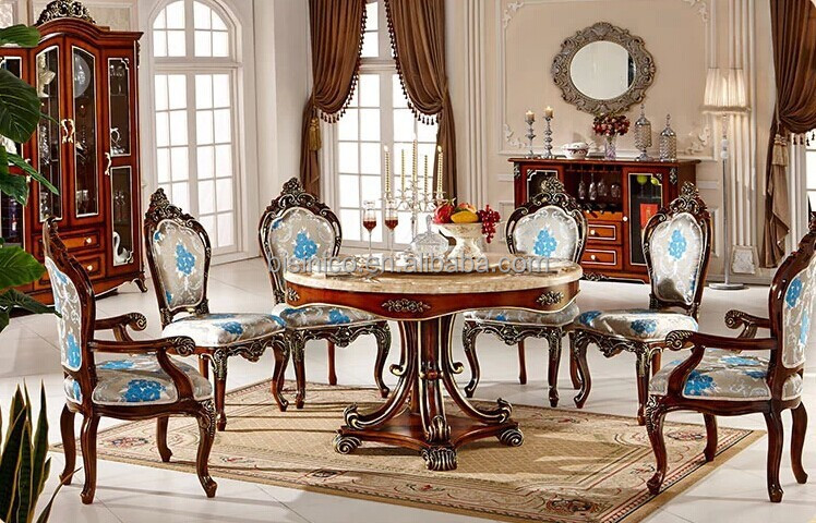 European Style Luxury Dining Set Round Table And Chairs Royal Room Furniture Bf01 Ys0125 Antique Tables