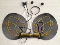 novel design black party wing and wand&headband with gold rose pattern for carnival