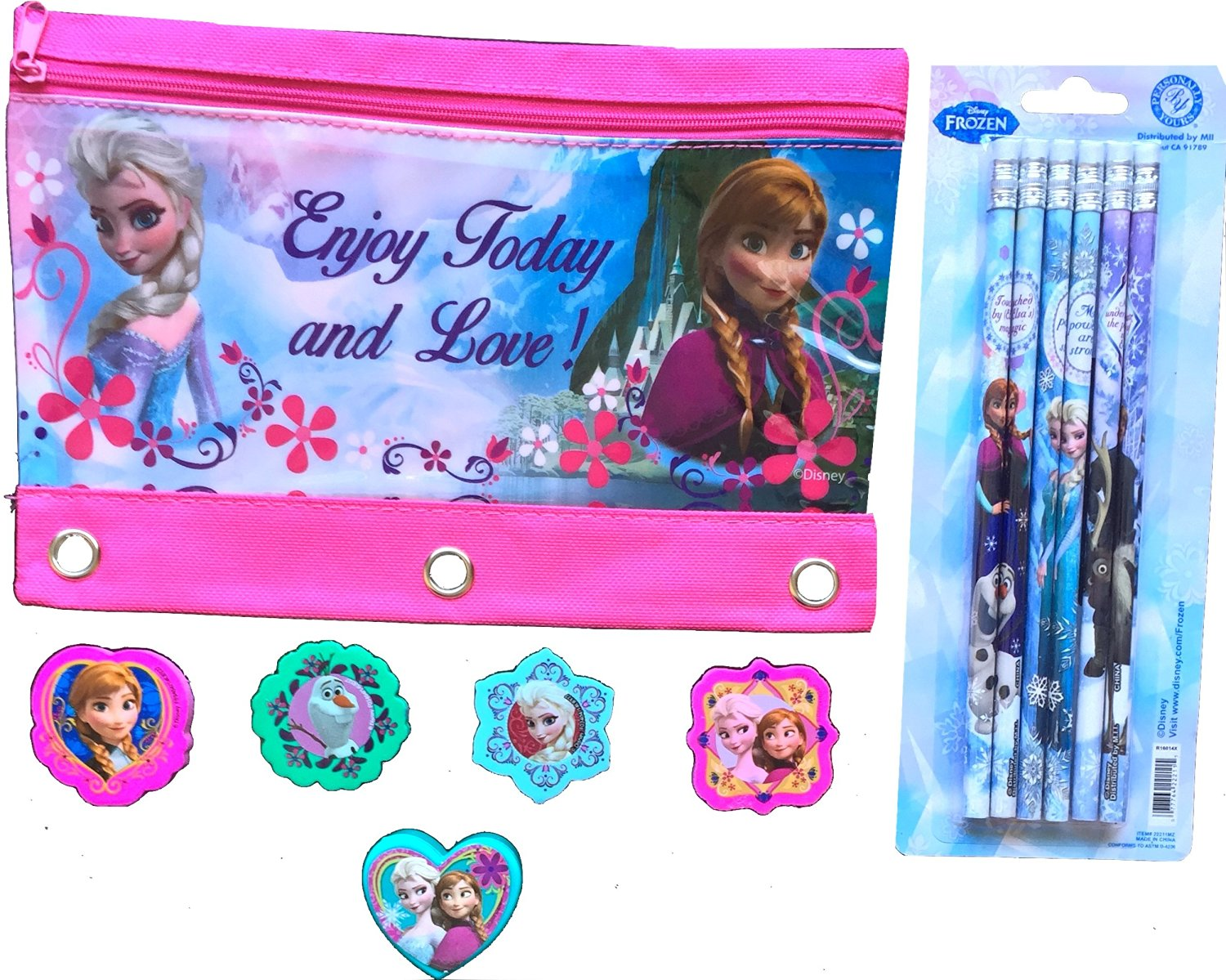 Frozen Exclusive Elsa /& Anna Blue Backpack 16 and Tiara Crown with Wand Silver with Blue Elsa and Anna Heart JewelSet