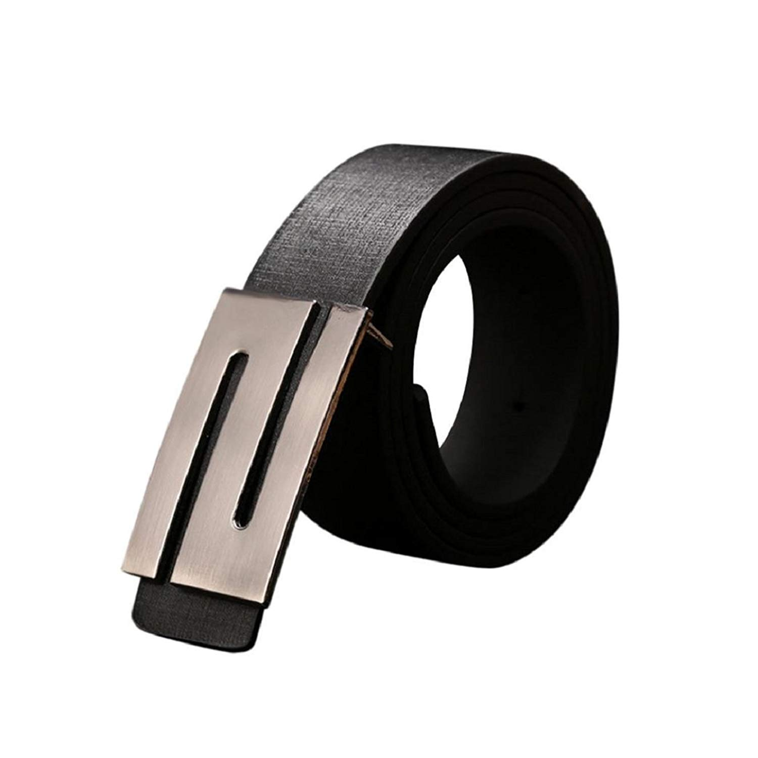Vovomay Men's Leather Adjustable Waist Strap Belt with Automatic Buckle