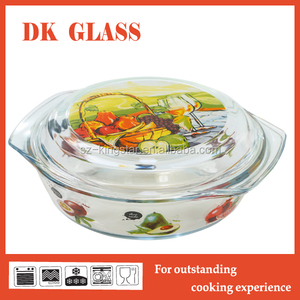 Unique Borosilicate Glass Pot With Cover/Glass Casserole Dish/Baking Dish with Lid