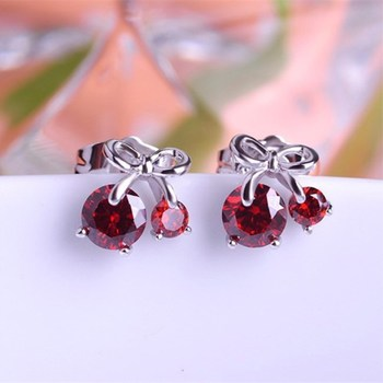Wholesale Cute Fashion Small Simple Red Cherry Crystal Stud Earring Women Wedding Earrings
