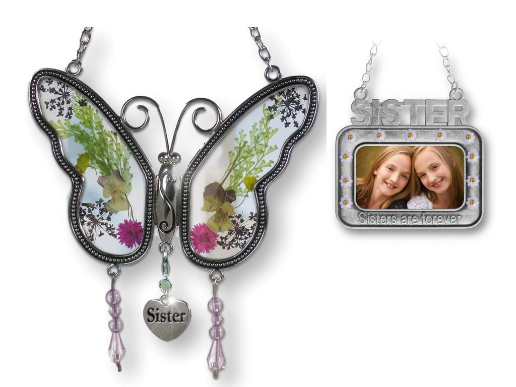 BANBERRY DESIGNS Sister Set - Butterfly Suncatcher with Sister Charm and Sister Picture Frame Ornament - Sisters are Forever