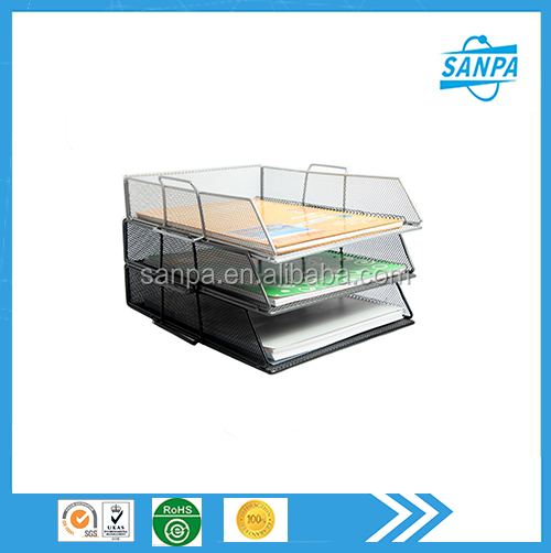 2015 Metal Mesh Rectangular Stackable A4 Paper Tray File Tray
