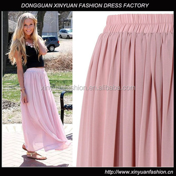 Pink Long Chiffon Pleated Maxi Skirt - Buy Maxi Skirt,Chiffon Maxi ...
