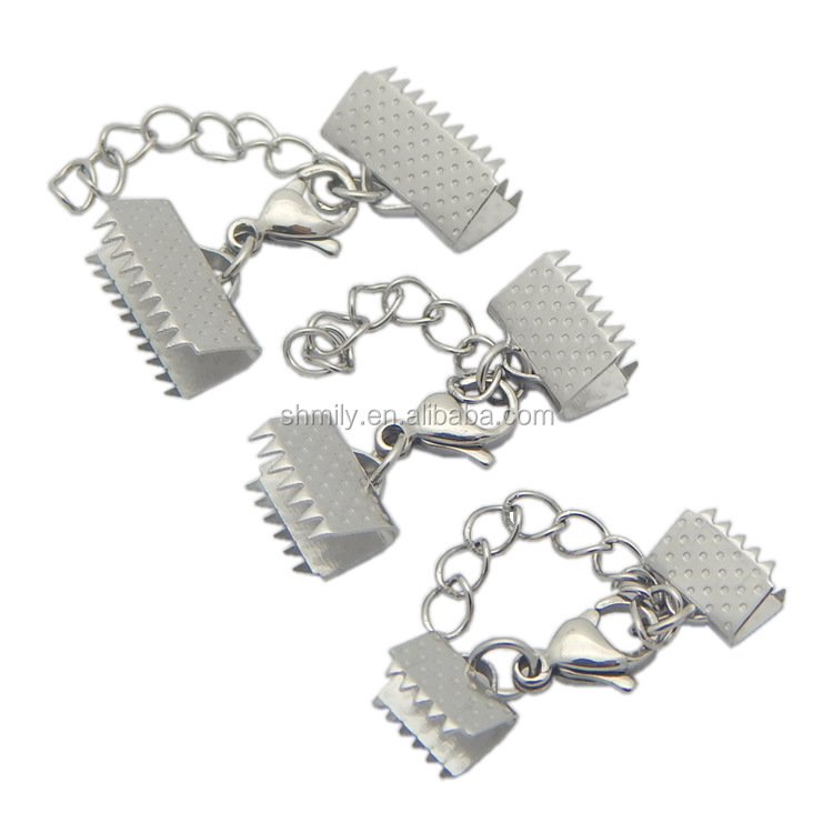7 Sizes Stainless Steel Ribbon Ends Clip Foldover Crimp Beads Leather Cord End Caps With Lobster Clasp Extended Chain BXGC-183