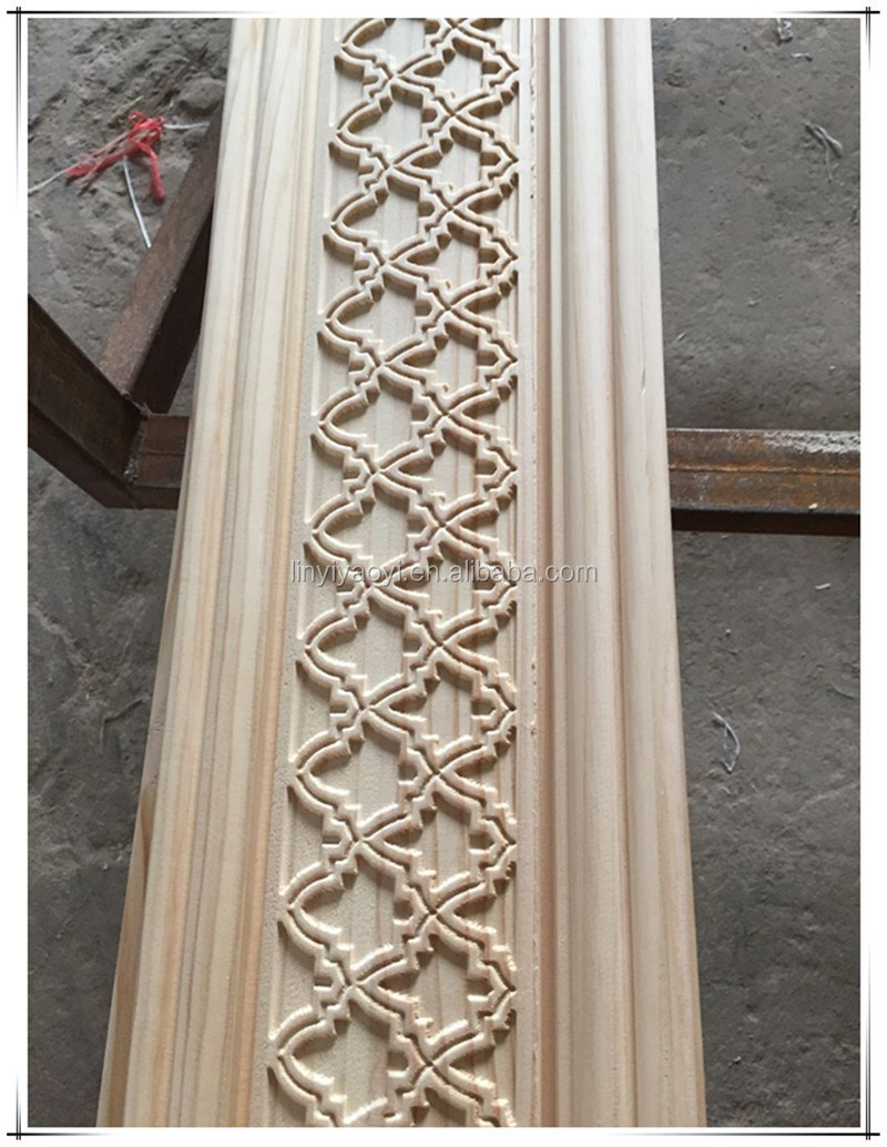 beech wood carving pattern strips for interior wall decoration