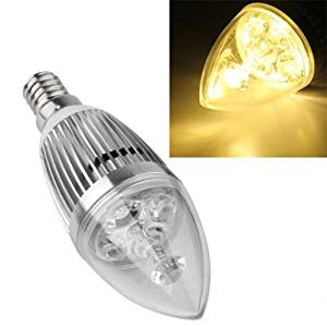 Candle Lamp - SODIAL(R) Candle Lamp Bulb E14 8W 110V-240V Warm white silver shell