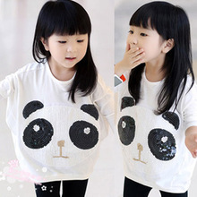 2016 Hot Sale Spring And Autumn Tidal Range Of Children s Clothing Wholesale Adorable Sequins Panda