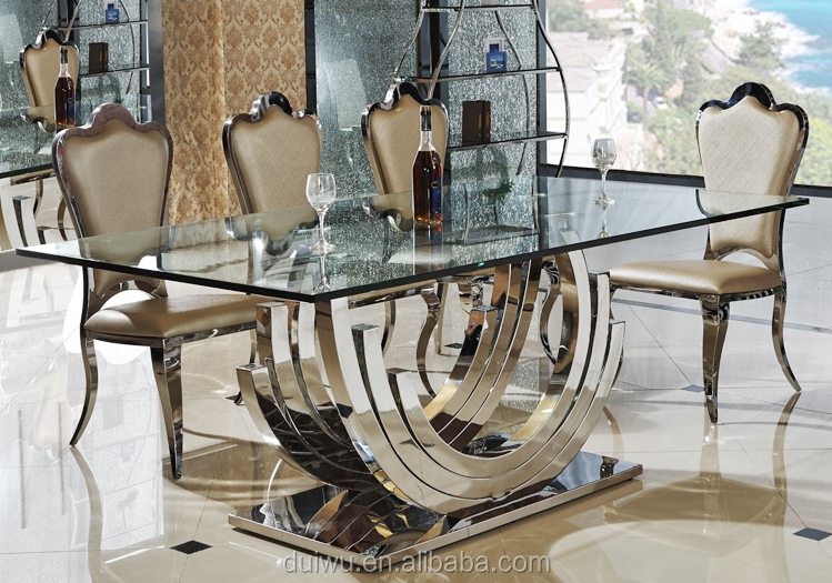 201 steel strong base clear tempered glass top rectangular dining table