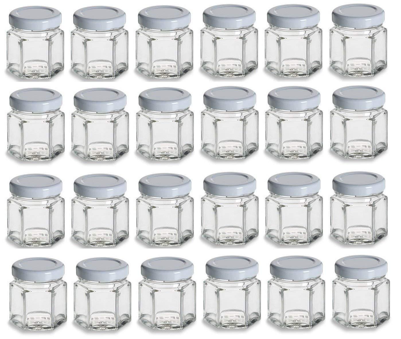 Nakpunar 1.5 oz Mini Hexagon Glass Jars with White Plastisol Lined Lids - Set of 24 - Value Pack