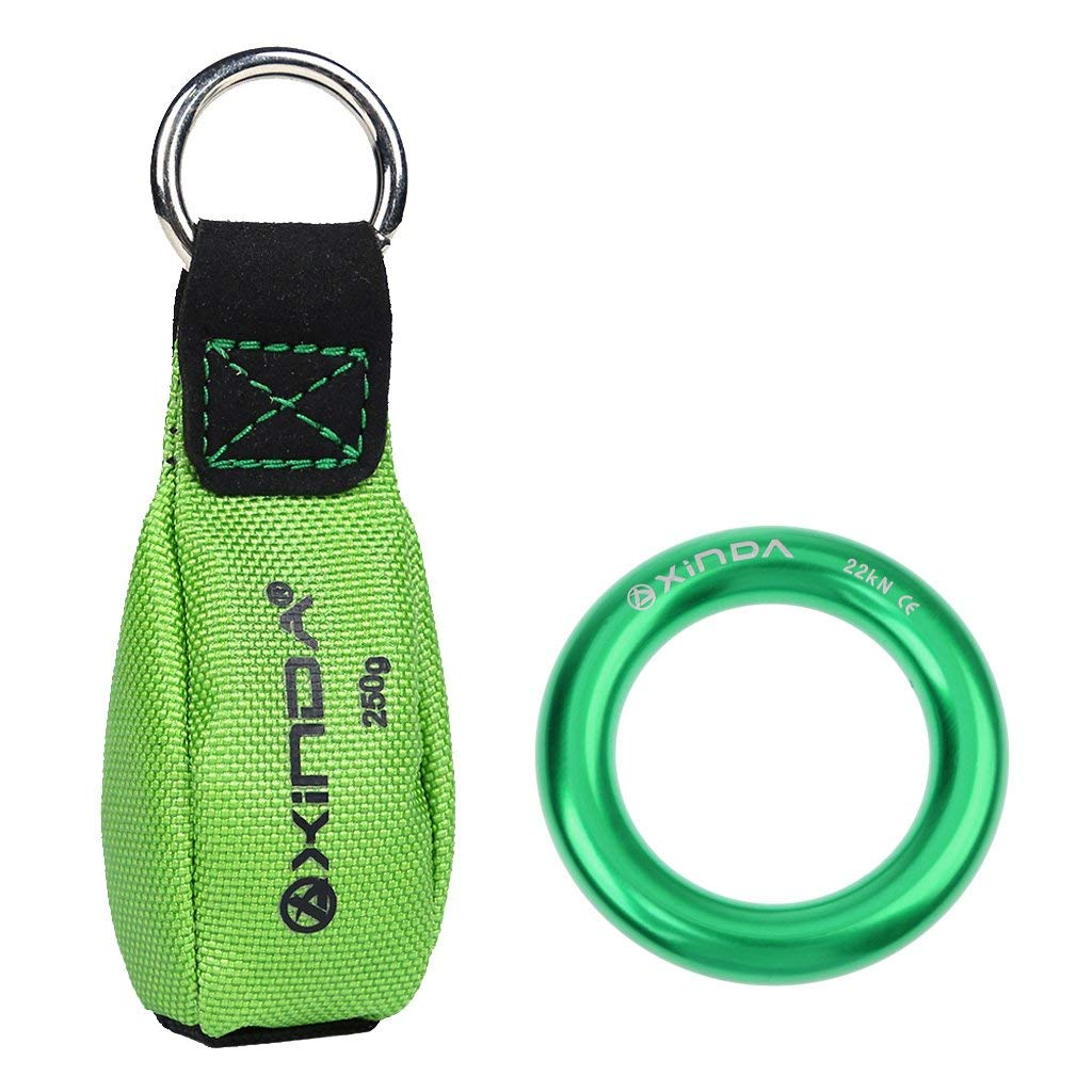 MonkeyJack 250g/ 8.8oz Climbing Rigging Throw Weight + 4850lbs Green Aluminum Alloy Rappel O-ring Connector