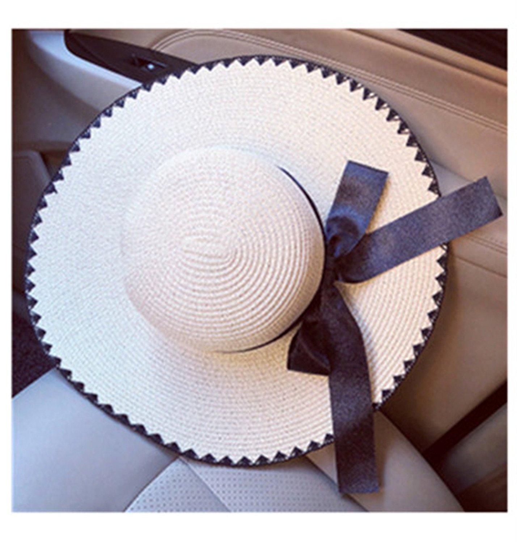 1b9b7f1d8de66 Get Quotations · New Summer Hats Women Floppy Big Wide Brim Hats Female  Casual Ribbon Bow Straw Beach Hats