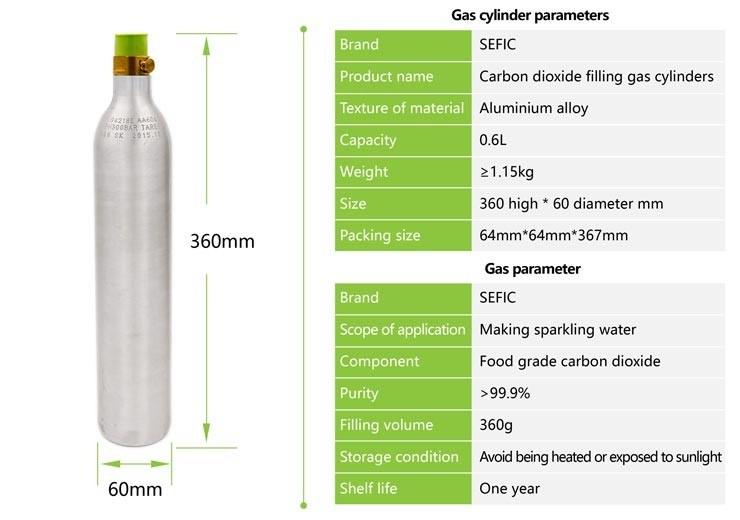 Food grade co2 compatibel 0.6L Soda CO2 Aluminium Cilinders