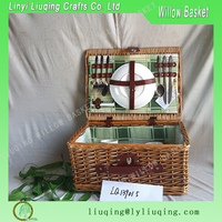 Vintage Light Brown Wicker Picnic Basket for 2 People with Tableware