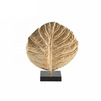 Mayco Handmade Abstract Piece Making Furniture Accessory Home Art Decoration,Gold Plated Leaf Fancy Sculpture Home Furnishing