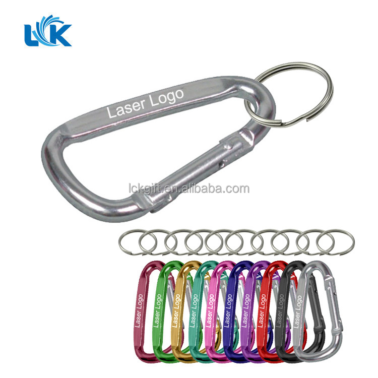 1 Pc Black D Shaped Sluminum Slloy Carabiner Hook Keychain Keyring SALE