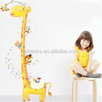 Fashion Kids Height Growth Chart Wall Decoration Stickergiraffe