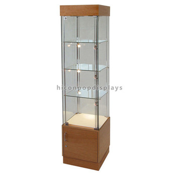 Multi Layer Retail Store Antique Wooden Base Free Standing Modern Glass  Jewelry Display Cabinet