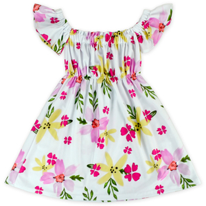 48BQA202-25-2 Yihong Sweet Honey Baby Girls Floral Vintage Printed Off-shoulder Designer One Piece Party Dress With