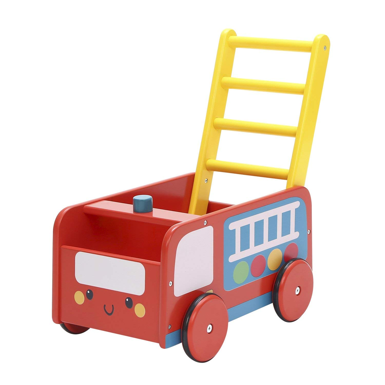 Labebe Baby Walker with Wheel, Red Fire Truck Walker, 2-in-1 Wooden Activity Walker for Baby 1-3 Years, Push Toy/Baby Wagon/Infant Walker Baby/Activity Walker/Learning Walker/Toddler Walker Activity