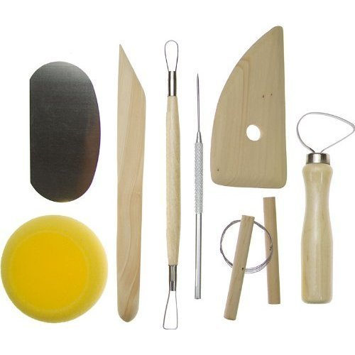 DierCosy 8Pcs Wood and Metal Pottery Clay Modeling Tool Set-Good Pottery Clay Design Flexibility Enhancer