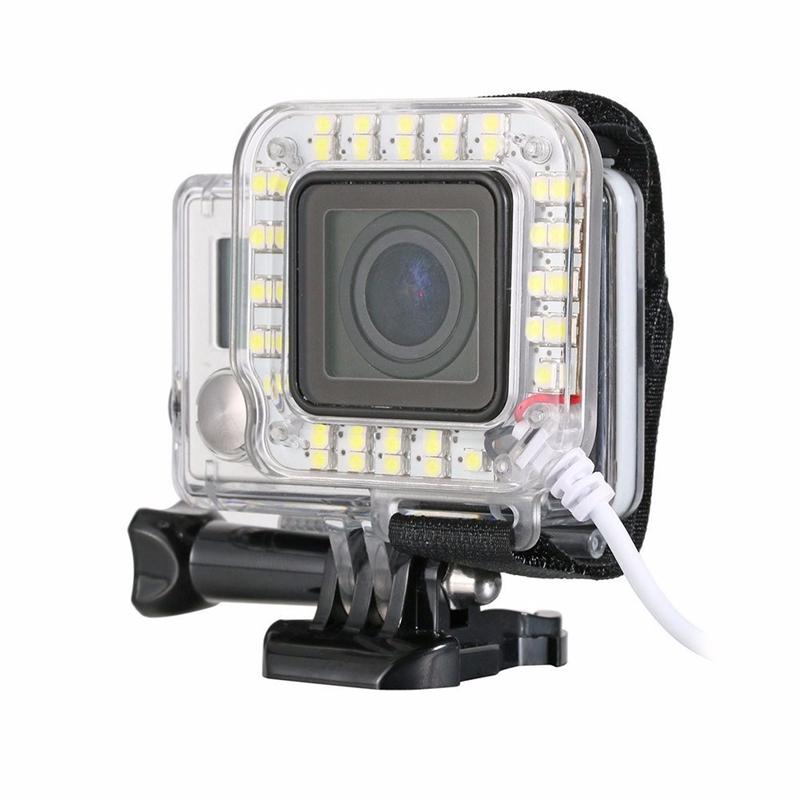 usb lens spot led night ring flashlight for gopro hero 3 plus 4 waterproof housing case. Black Bedroom Furniture Sets. Home Design Ideas