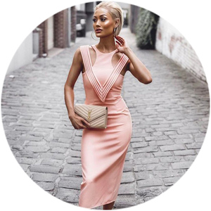 a82bb2a1e3 oem 2018 stock high quality pink rayon elegant women party wear sleeveless  fashion V hollow out sexy bodycon long bandage dress