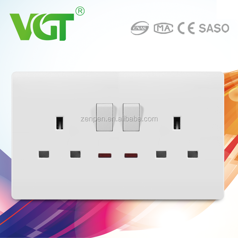 China PC Wall Switch Supplier compact with reasonable price of Double 13A switched socket with neon