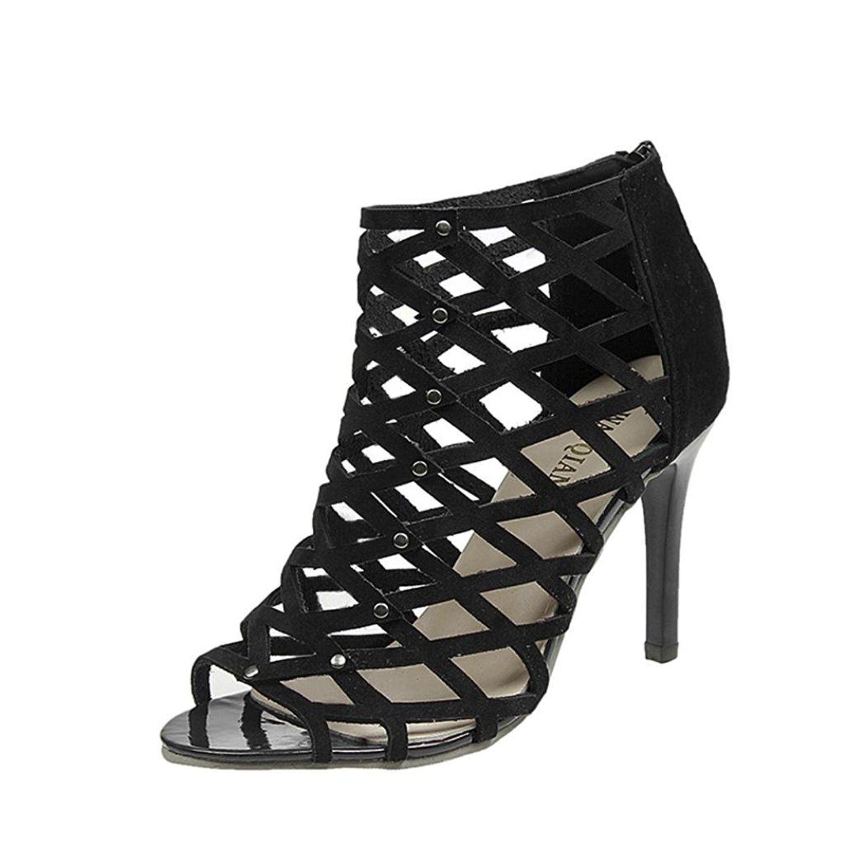 Inkach Womens Gladiator Sandals Peep Toe Stilettos Slim High Heels Pumps Shoes