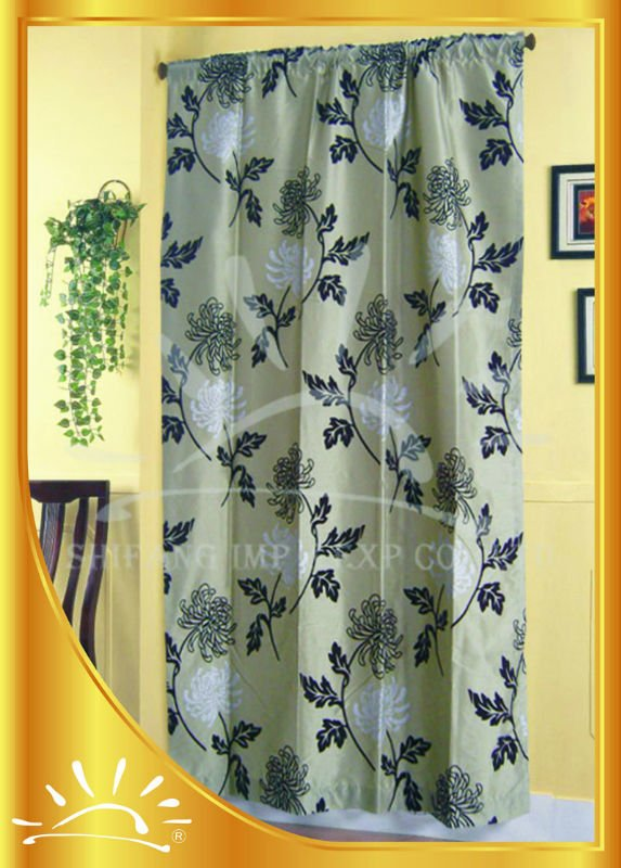 100%Polyester Flocking window curtain with panel