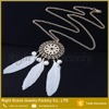 Fashion White Blue Feather Charm Woman Lady Jewelry Pendant Gold Chain Necklace