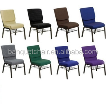 Popular Soft Cushion Antique Metal Frame Fabric Folding Church Chairs