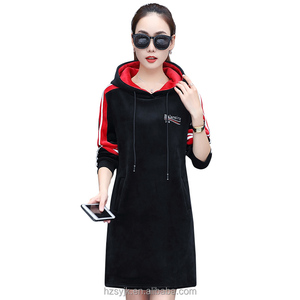 Wholesale tracksuit plus velvet casual sports wind loose velour dress fall winter women long sleeve 2017 new sweater skirt